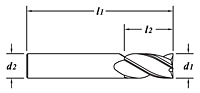 Standard Length-TiCN Coated-Dimension Drawing