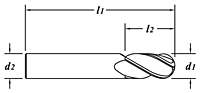 Standard Length-Ball End-TiN Coated-Dimension Drawing