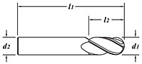 Standard Length-Ball End-TiCN Coated-Dimension Drawing