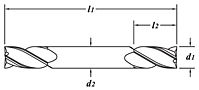 Standard Length-Double End-TiALN Coated-Dimension Drawing